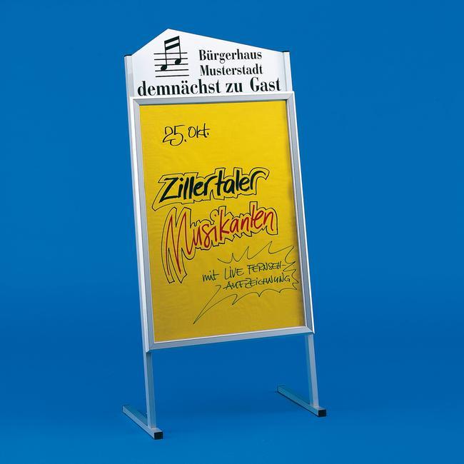 Stalak za plakate s oblikovanom gornjom pločom
