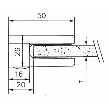 Mala stezaljka za staklo za montažu na zidove od 6 i 8 mm