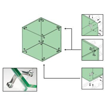Stakleni povezni element za vitrine sa samostalno sastavljanje